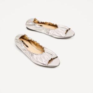 ZARA Silver 100% Leather Elastic Ballerinas Flats